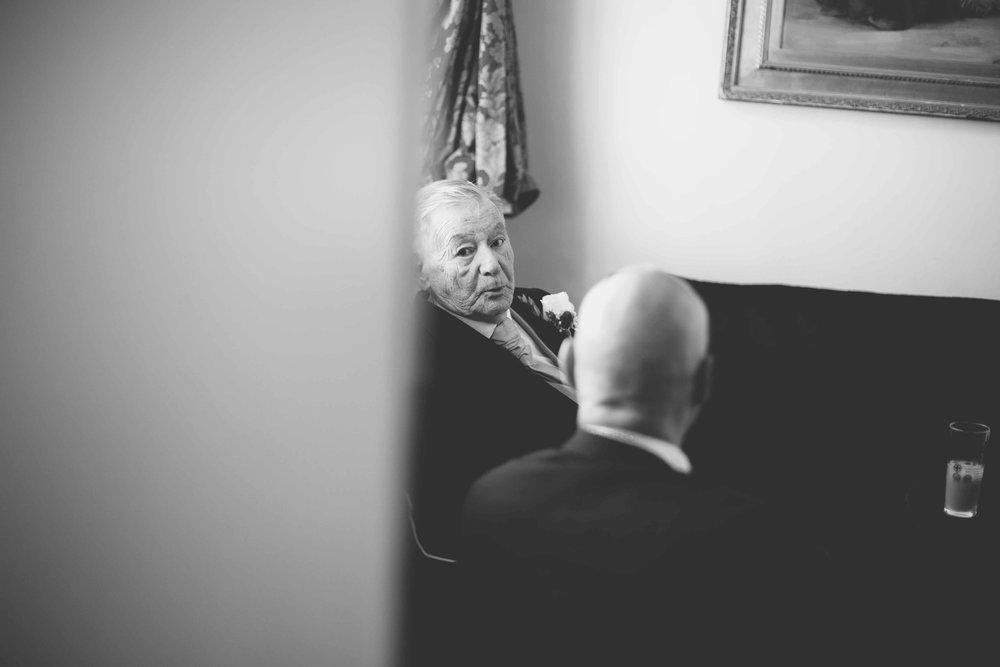 Old man watching at the wedding