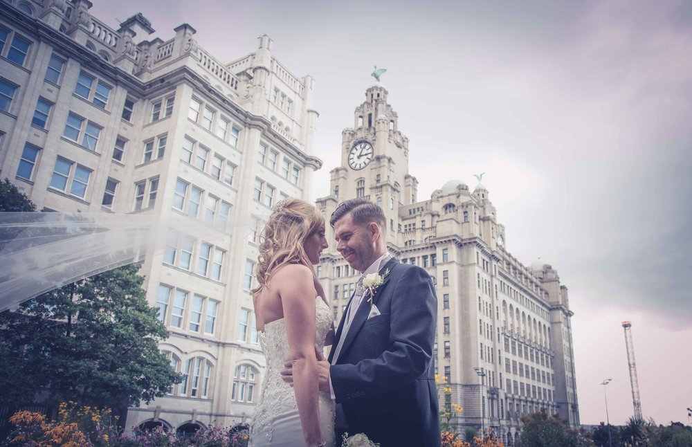 Liver building in the background