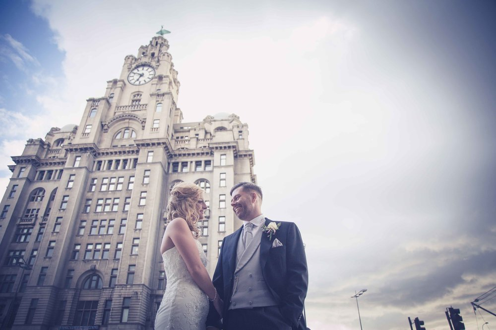 Wedding Photo outside Liver Building