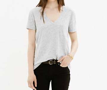 e. slub v-neck pocket tee