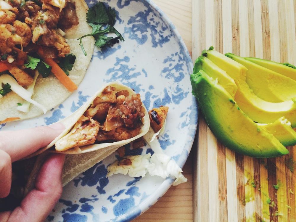 Beer Roasted Cauliflower Tacos