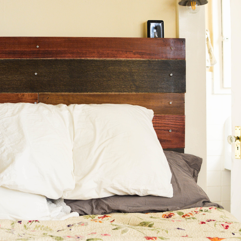 DIY HANGING WOOD HEADBOARD
