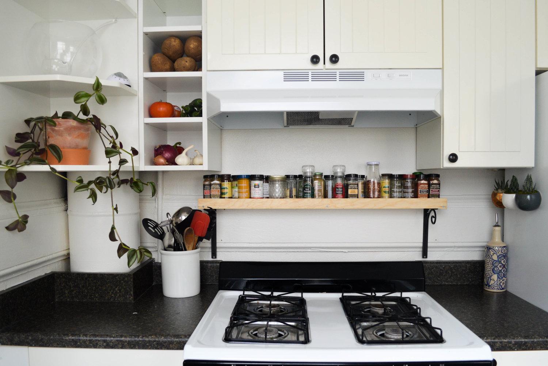 Diy over stove spice shelf