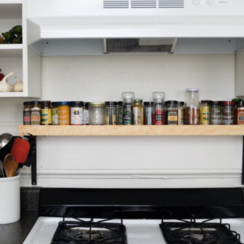 DIY OVER-STOVE SPICE SHELF
