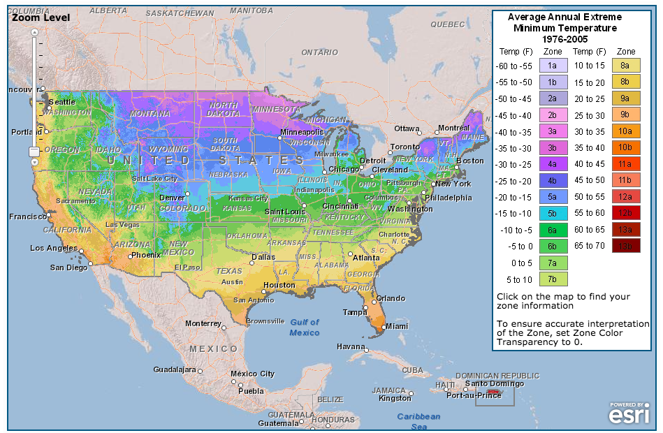 Map of USDA Hardiness Zones.