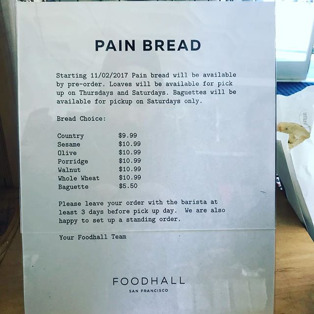 ATTENTION SAN FRANCISCO: get @painbakery @foodhallsf these days and also put in your Thanksgiving Day orders for pickup Thursday morning @foodhallsf