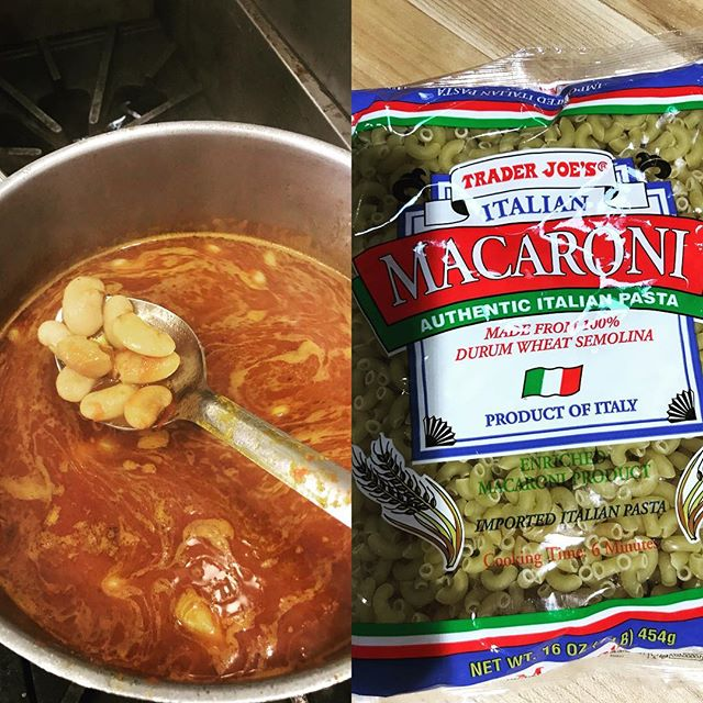 Today's food brought to us by: dried then suitably simmered corona beans and imported macaroni product. No bread pics today hahahahahah!