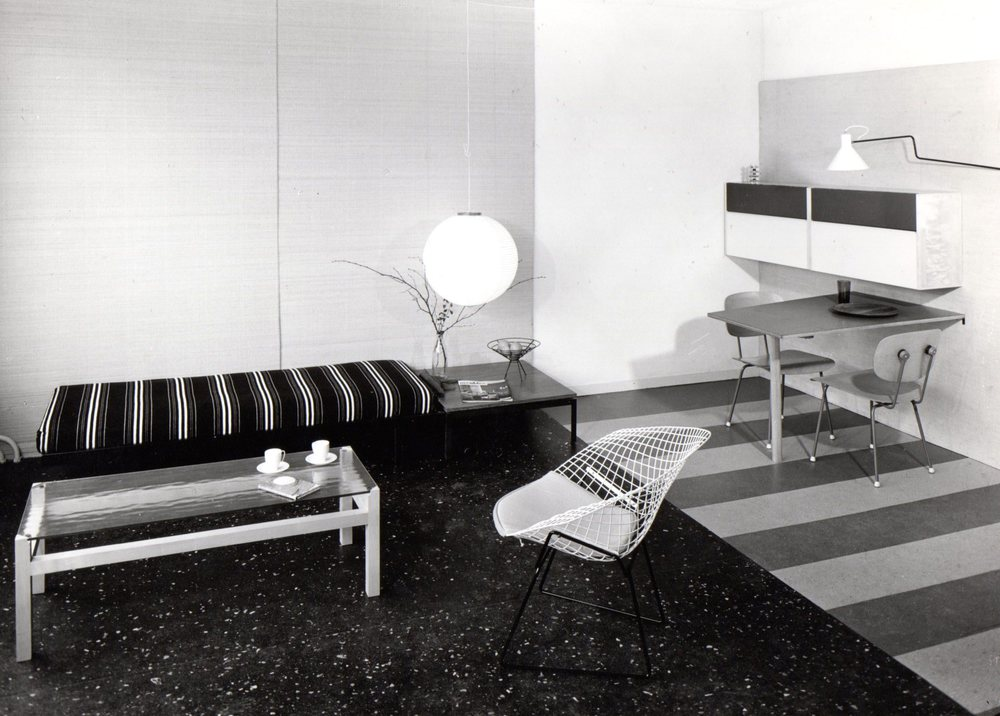 Model home in Corversbos apartment building. Table Lageveen under the lamp, table Langerak on the left. Photo Jan Versnel
