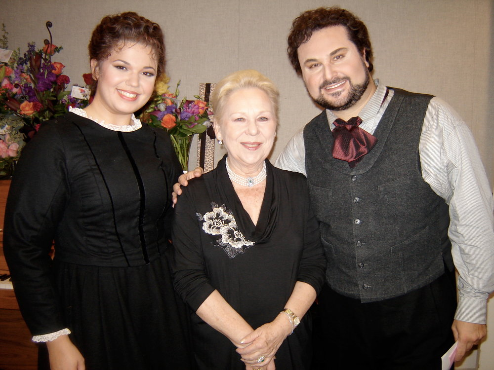 The day my whole life changed. With Renata Scotto and Roberto Aronica, backstage at the Lyric Opera of Chicago.