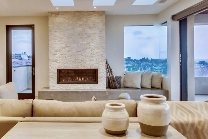 Grawski stacked stone fireplace