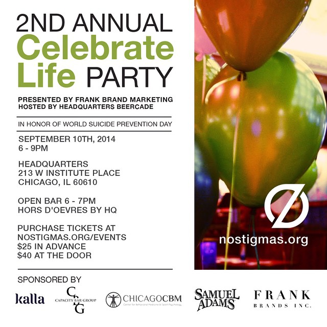 Come #CelebrateLife at the NEW @HQ_Chicago in River North. Presented by @FrankBrandsInc. Tickets: nostigmas.org/events #mentalhealth #suicideprevention #chicagoscene #partytime (at Headquarters Beercade 214 W Institute Chicago, IL 60610)