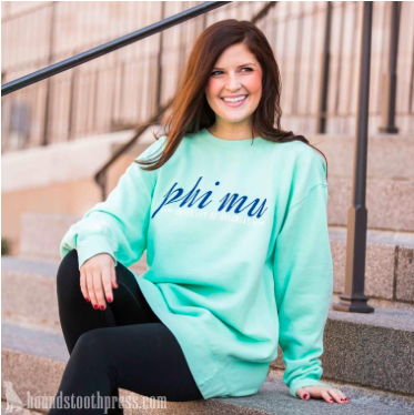 Phi Mu Simple Sweatshirt Chalky Mint