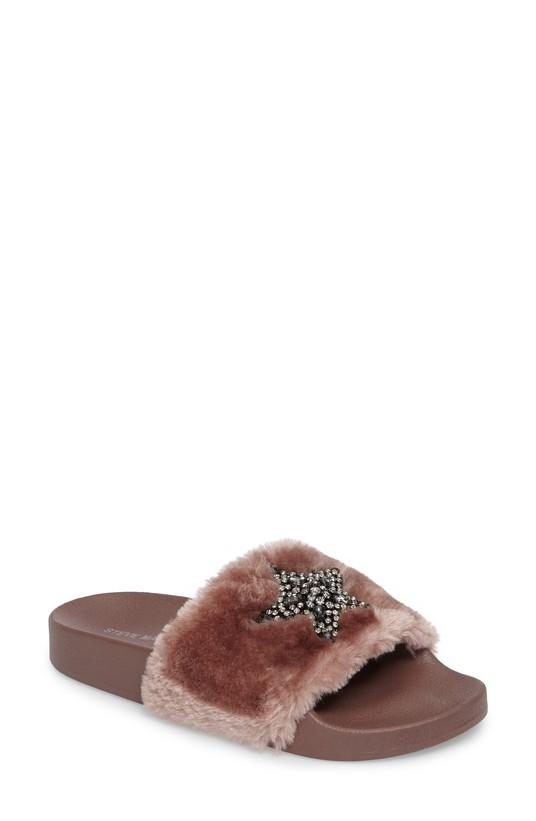Shimmer Embellished Faux Fur Slide