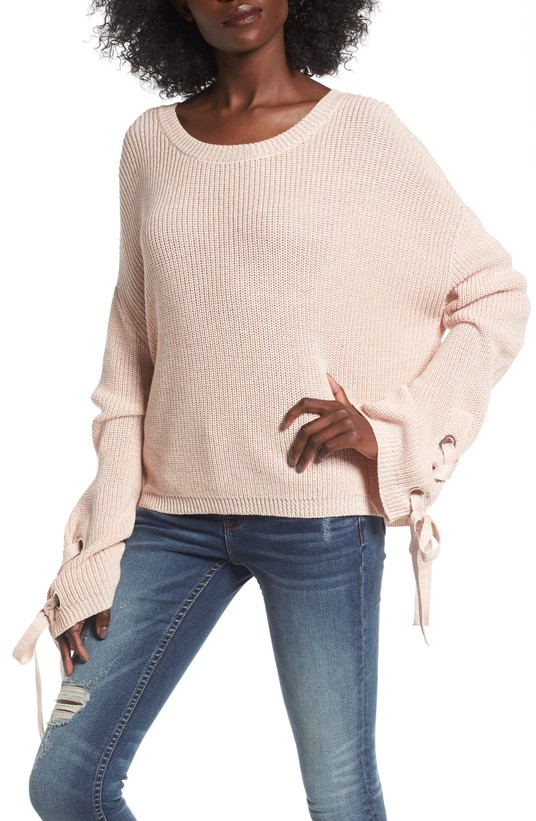 Grommet Sleeve Pullover