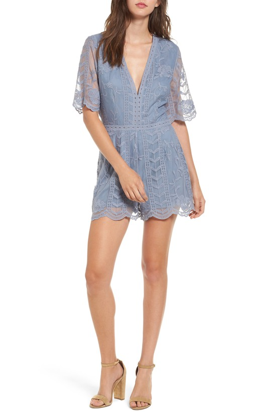 Blue Plunging Lace Romper