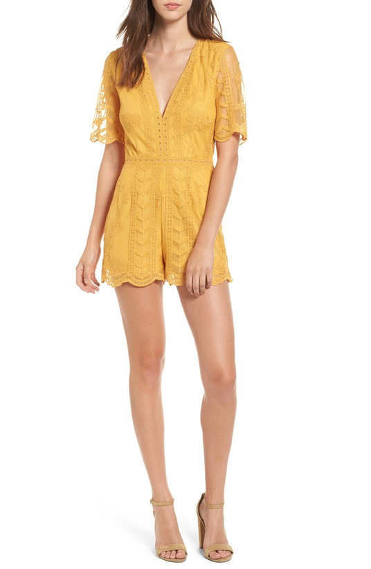 Mustard Plunging Lace Romper
