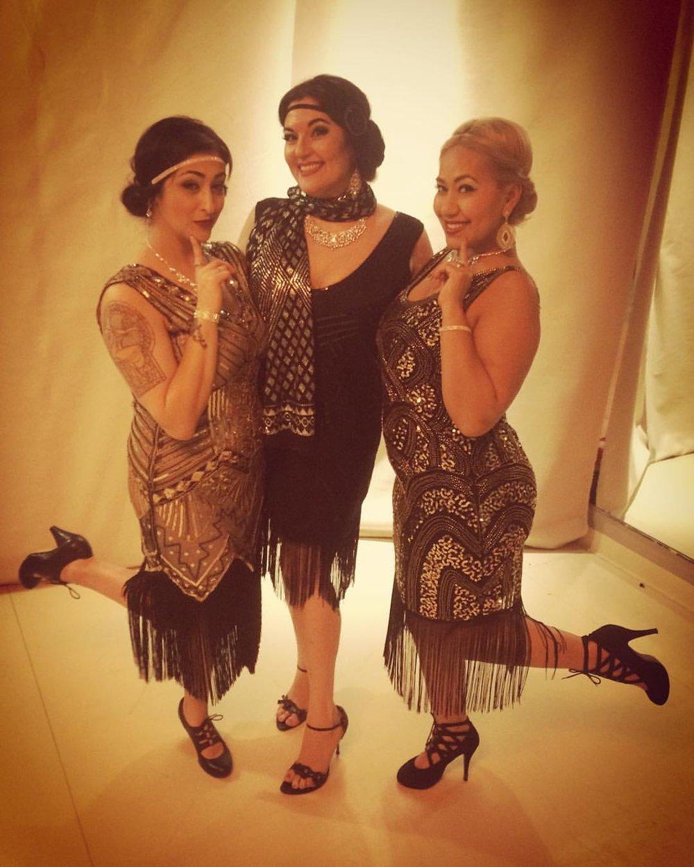Our glamorous opening dancers~ Alia, Shana & Belen preshow