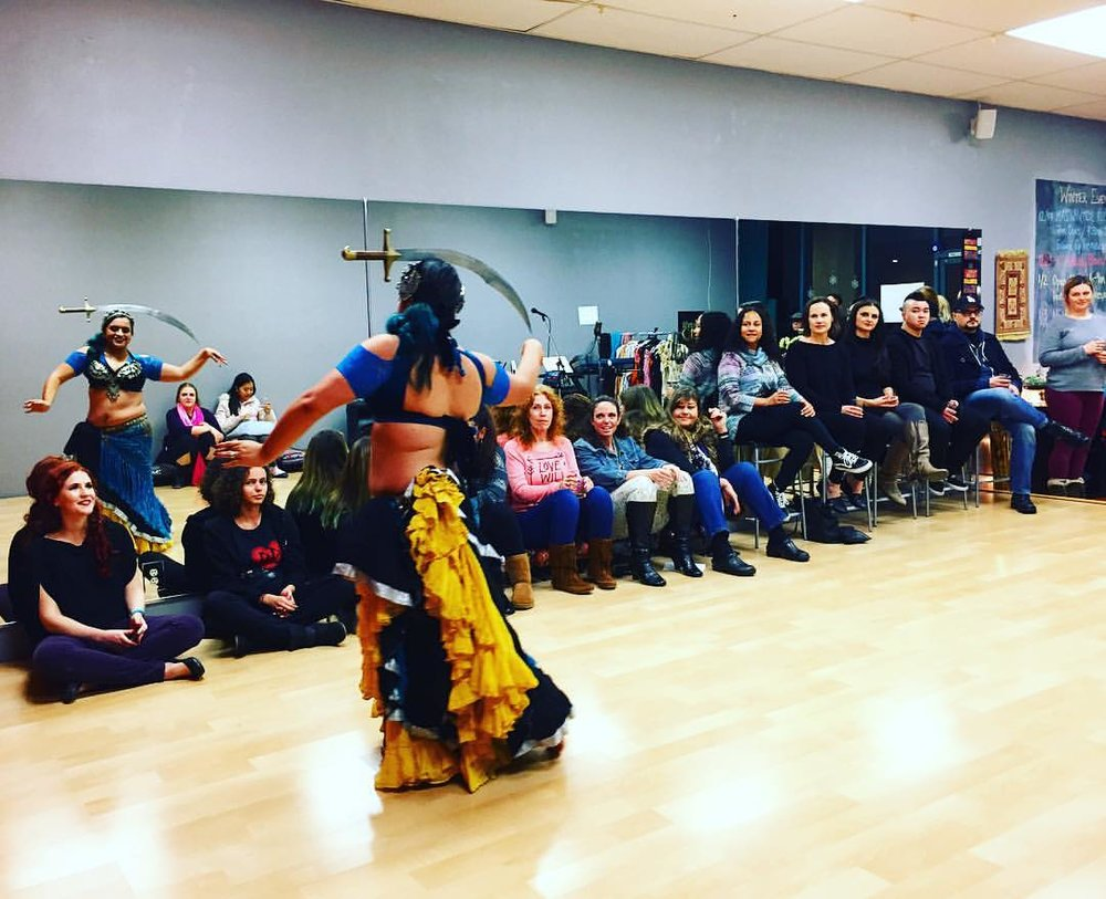 Jenn Aguilar started the evening off with a tribal sword performance! She's back teaching ATS general skills every Sunday 4:30-5:30pm so grab your zils and come on in!