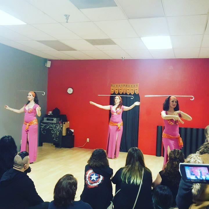 Lumina including Stefanie, Courtney & Aubre shared a sassy Saidi dance. (photo by Belen Garibaldi)