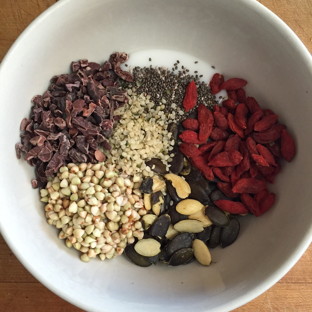 Coconut yogurt, chia seeds, goji berries, pumpkin seeds, soaked buckwheat, cacao nibs, hemp seeds