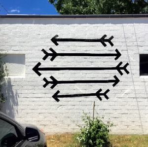 My digital mockup on the coffee shop wall
