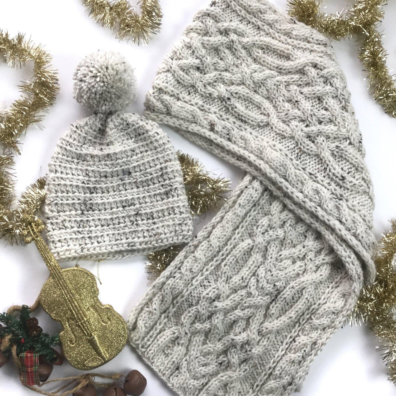 528a273ebb KIDS Frosted Ylang Scarf & Pom Pom Hat Set — Visuvio's Crafts