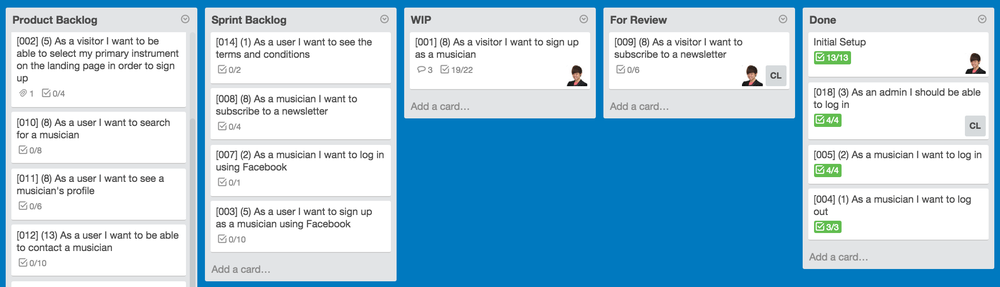 Trello board for project management