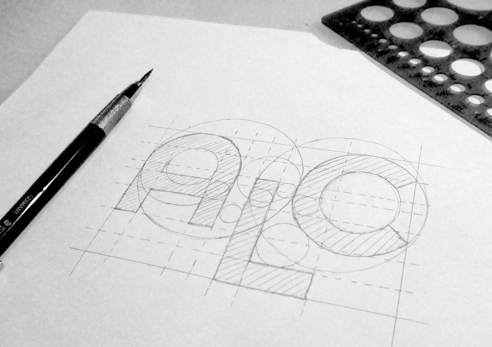 Layout of logotype, using the golden ratio.