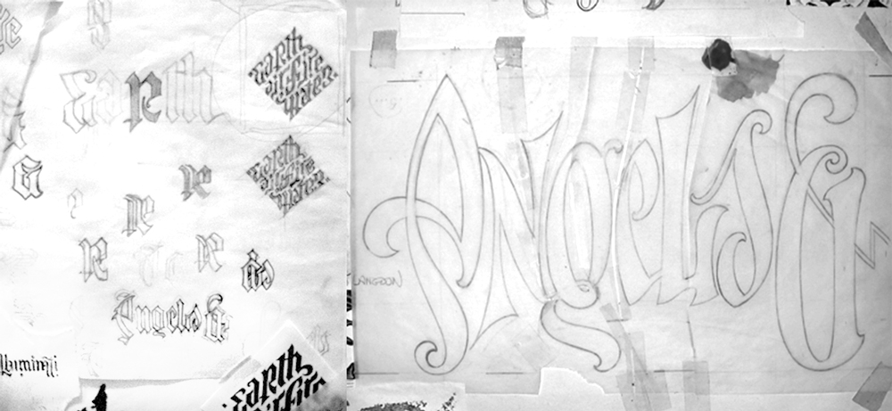 Ambigram sketches for Angels & Demons by Dan Brown