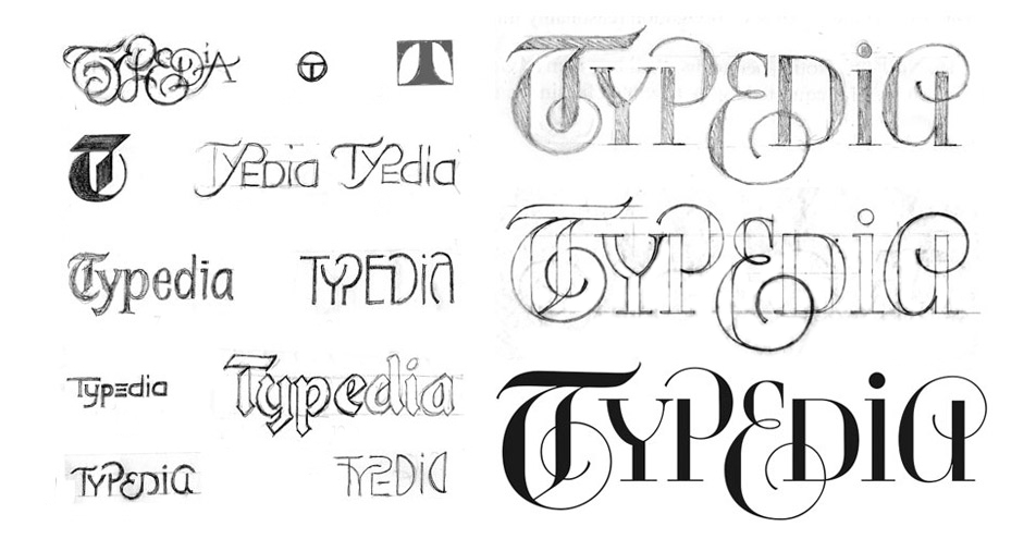 Logo design process for Typedia (the type excyclopedia)