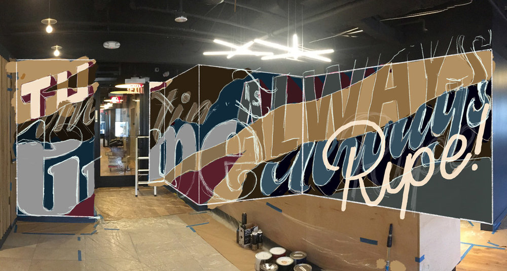 iPad sketch above. Final mural below. Collaboration with Nev (No Entry Design) at WeWork Atlanta