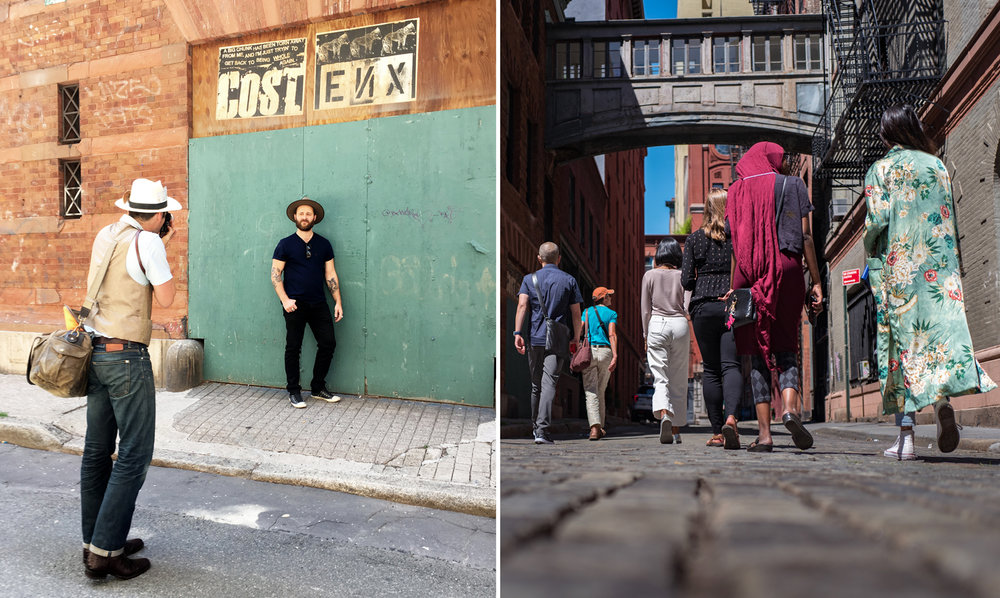 Left: Tyler Sharp (@tylersharpphoto) shooting Luke Choice (@velvetsprectrum)    Right: walking through Tribeca