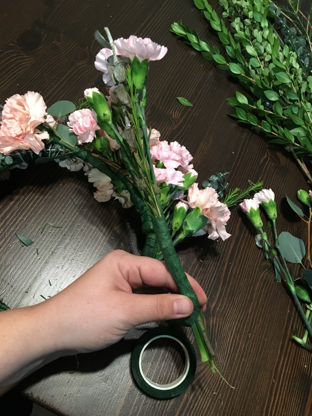 here's one of the bunches i plan on attaching last. i've made the stem longer to give it length. i still want the flowers to reach the top of the crown from the back.  make 2 like this so you can put one on each side. these will be attached at the end.