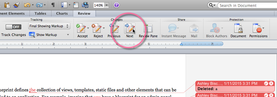 "The ""Next"" button within Word's review toolbar"