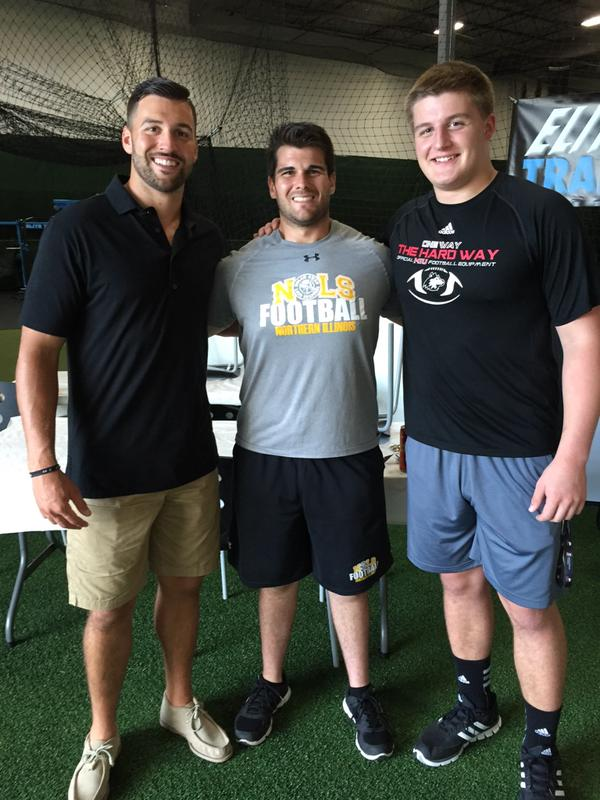 Pictured Left to Right: NFL QB Chandler Harnish, NOLS Coach Nolan Owen, NIU Long Snapper Hayden Sak