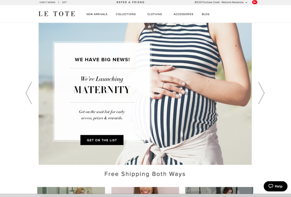 Le Tote Maternity Clothing Subscription