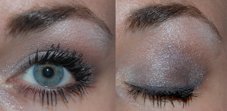 Plum liner, Pomp Lid, Lilac Pearl highlight, and Prestige crease