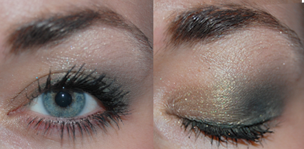 Rebekah is wearing Envy inner lid, Spanish Moss crease, Dark Forest liner, Ivory Shimmer highlight