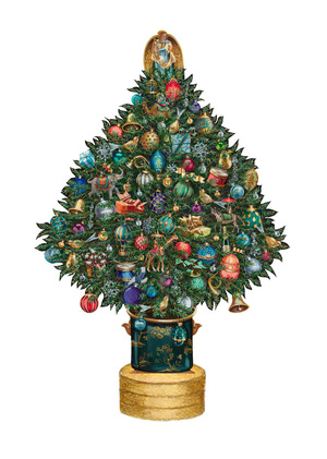 Classic 13 5 Tabletop Christmas Tree Decorative Wooden Pieces
