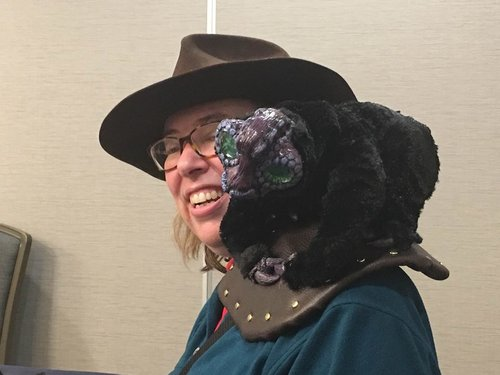 CS Peterson and her jeweled black quaver at MileHiCon 48.  Photo  by Sam Knight.