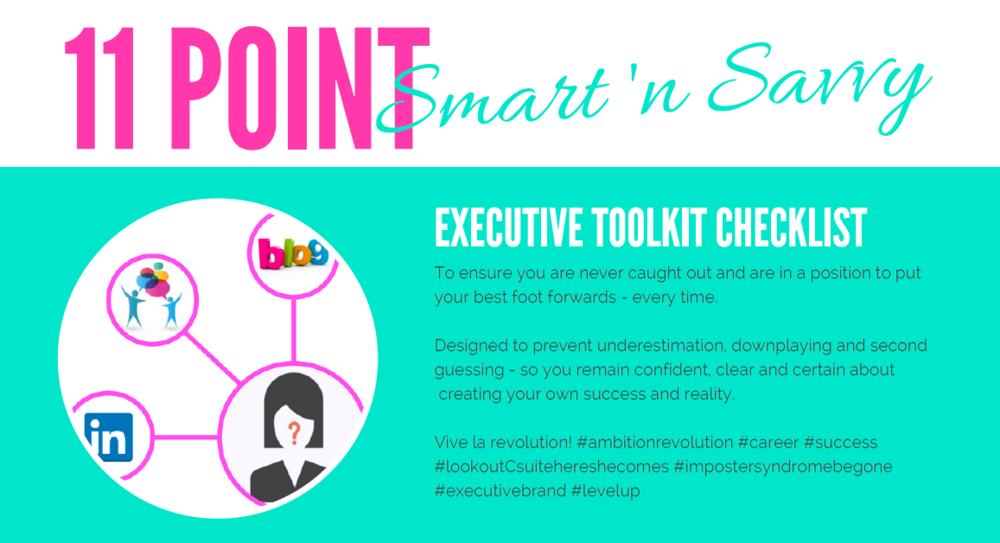 Cllck to Download - 11 Point Smart 'n Savvy Executive Toolkit Checklist