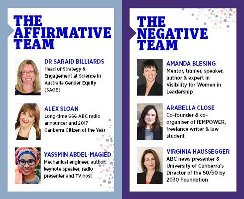 AIM Great Debate Canberra 23 June 2017 -  Virginia Haussegger AM, Yassmin Abdel-Magied, Alex Sloan, Dr Saraid Billiard, Arabella Close and moi!