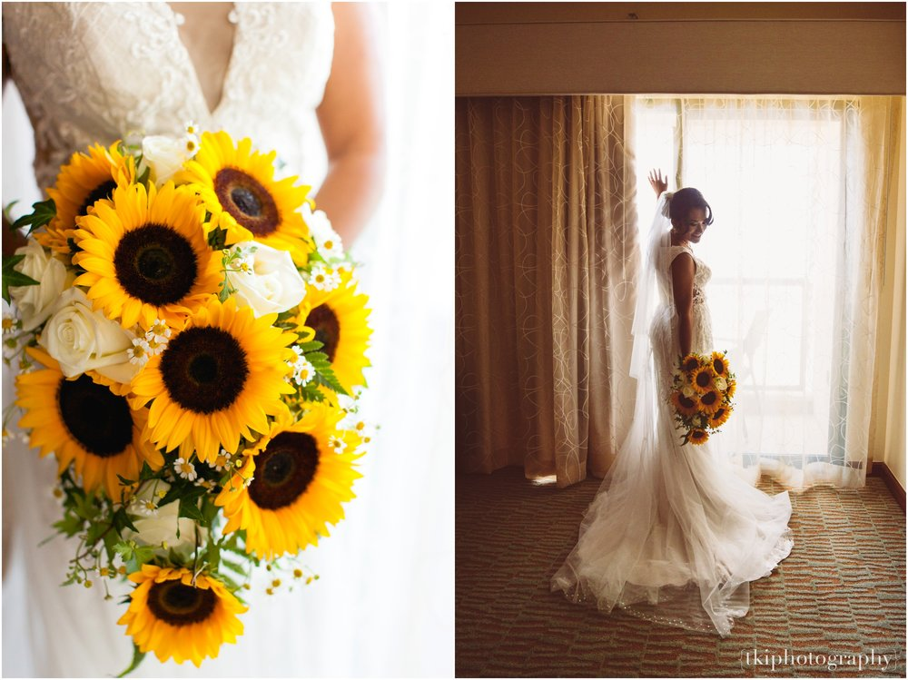 Watanabe Floral created a beautiful Sunflower Bouquet arrangement for the bride