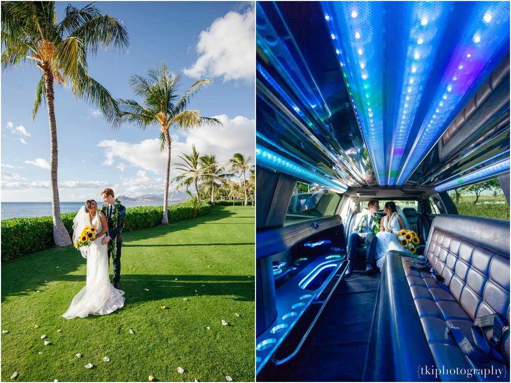 Celebrating the day with a fun getaway limo to escort the bride and groom to the reception.