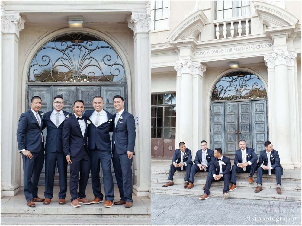 The groomsmen classy and slick for the wedding day.  Great job  Mojo Barbershop .