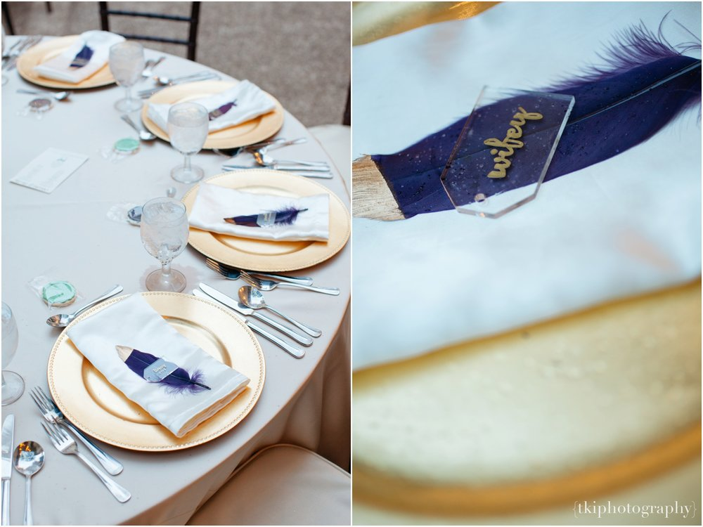 With Mari's love for old world details, a gold-tipped feather was implemented along with hand written lucite plate cards for the guest.
