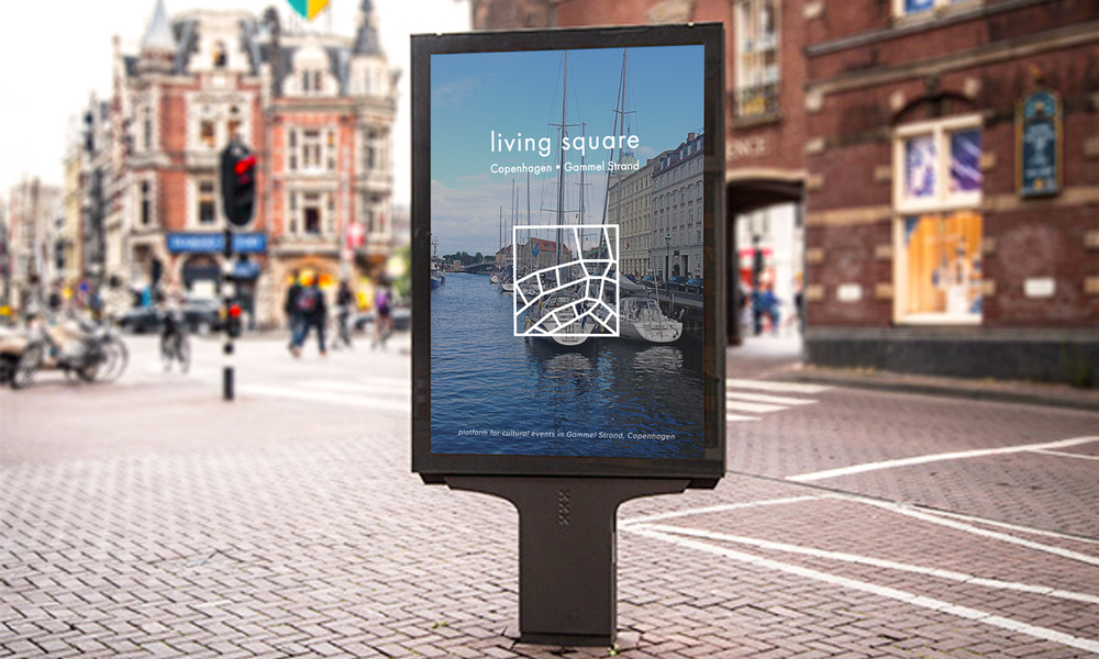 living square branding / street advertisement