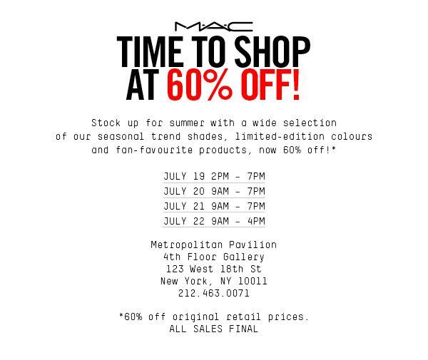 Mac cosmetics sample sale, new york, july 2016.