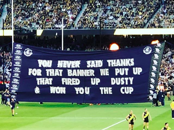 2018 vs. Richmond - Breaking chronological order here to post the follow up banner vs. Richmond in 2018. Proof that you can always diffuse a situation with a good dose of self-awareness and humour.