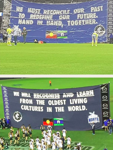 2017 Indigenous Round vs. North - Writing gags is fun, but these moments are something else. For the 2017 Indigenous Round we reached out to North Melbourne to create a joint banner that all the players would run through together. Thankfully, they accepted.